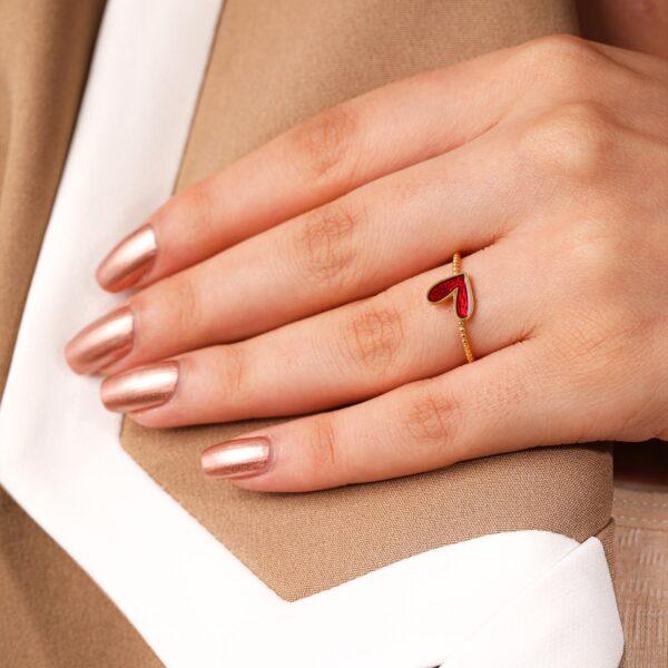 انگشتر قلب قرمز | گالری طلا و جواهر نیازی