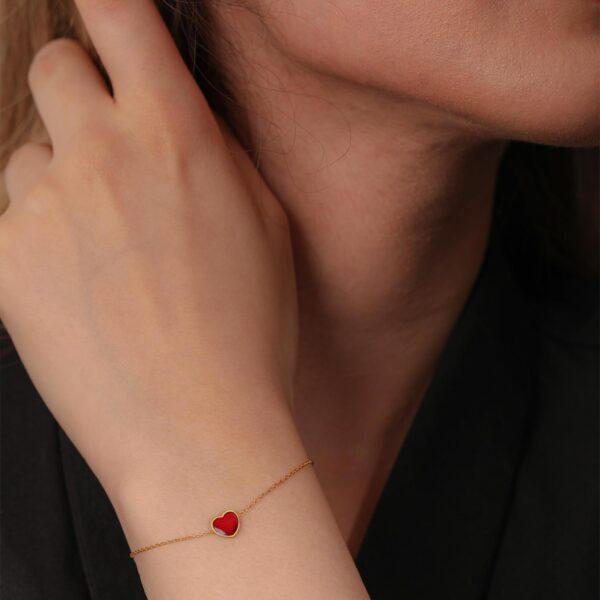 دستبند قلب آتشگون | گالری طلای نیازی